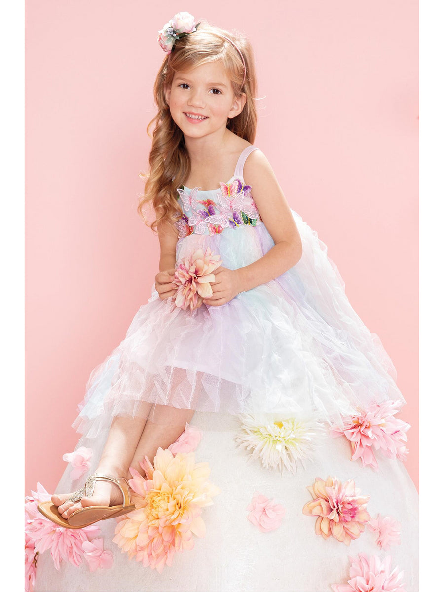 Girls Pastel Butterflies Dress