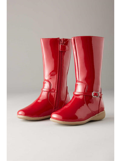 Girls Patent Boots  red 1