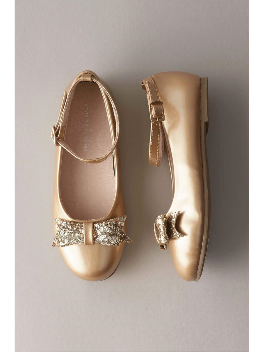 Girls Patent Glitter Bow Shoes