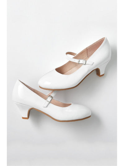 Girls Patent Kitten Heel Mary Janes  whi 1