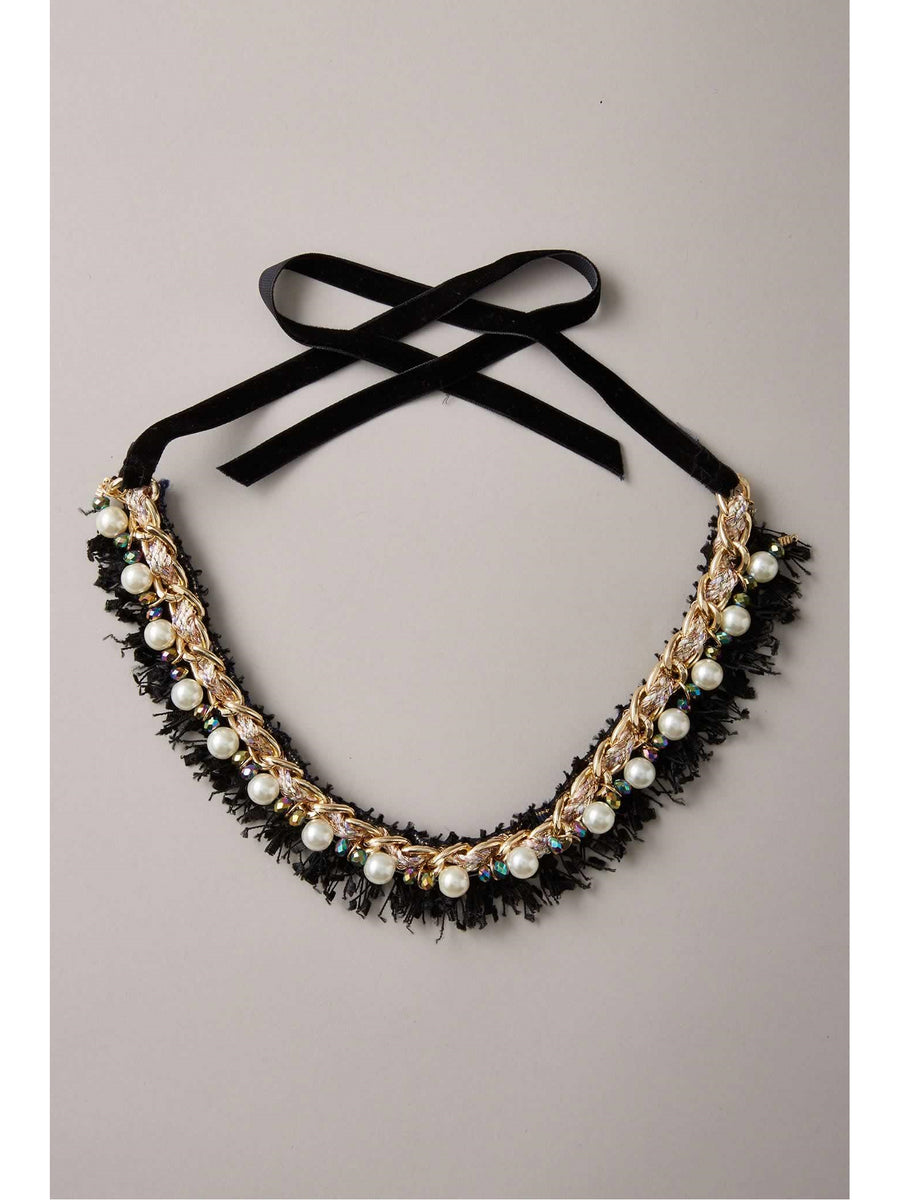 Girls Pearl & Eyelash Collar