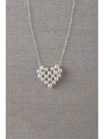 Girls Pearl Heart Necklace  sil 1