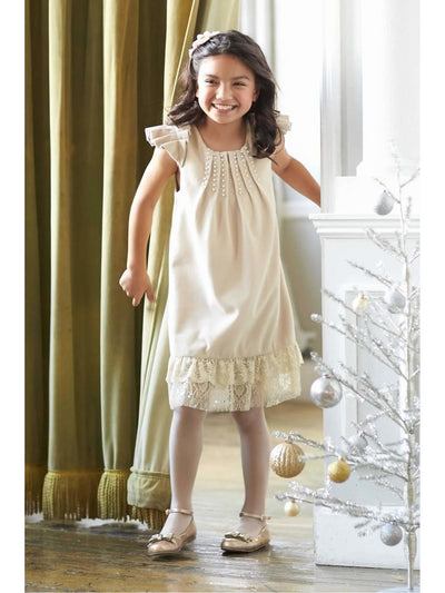 Girls Pearls & Lace Dress  cre alt1