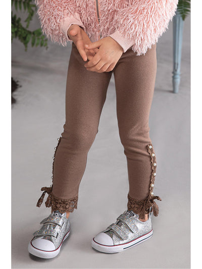 Girls Pearls & Lace Leggings  tau 1