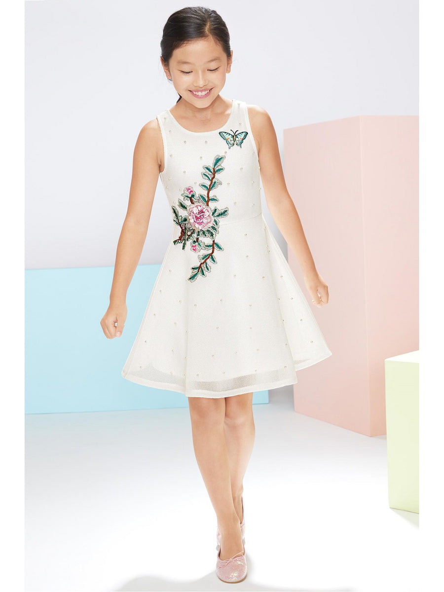 Girls Pearls & Papillon Dress
