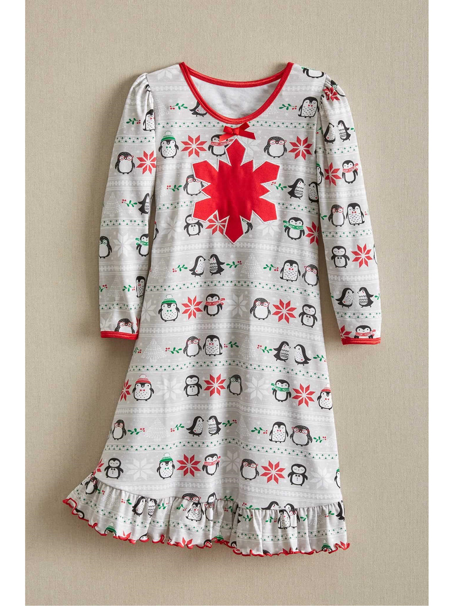 Girls Penguins in Snow Nightgown