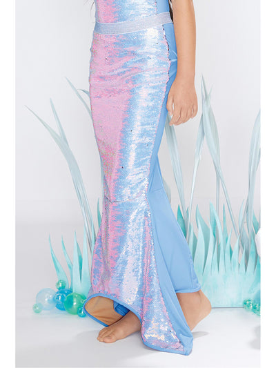 Girls Periwinkle Sequin Mermaid Tail Swim Cover-Up