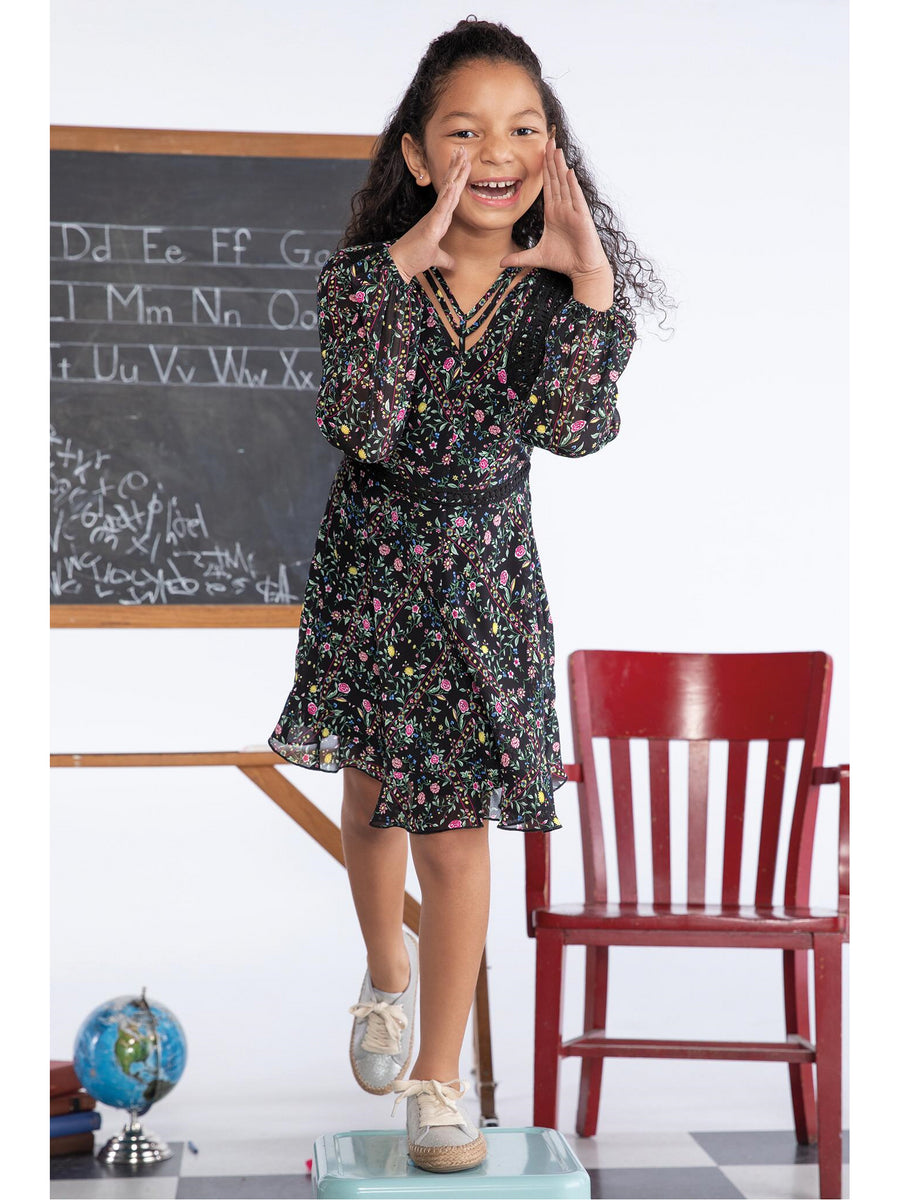 Girls Petite Flowers Print Dress