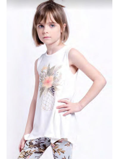 Girls Pineapple in Paradise Tank  cream alt1