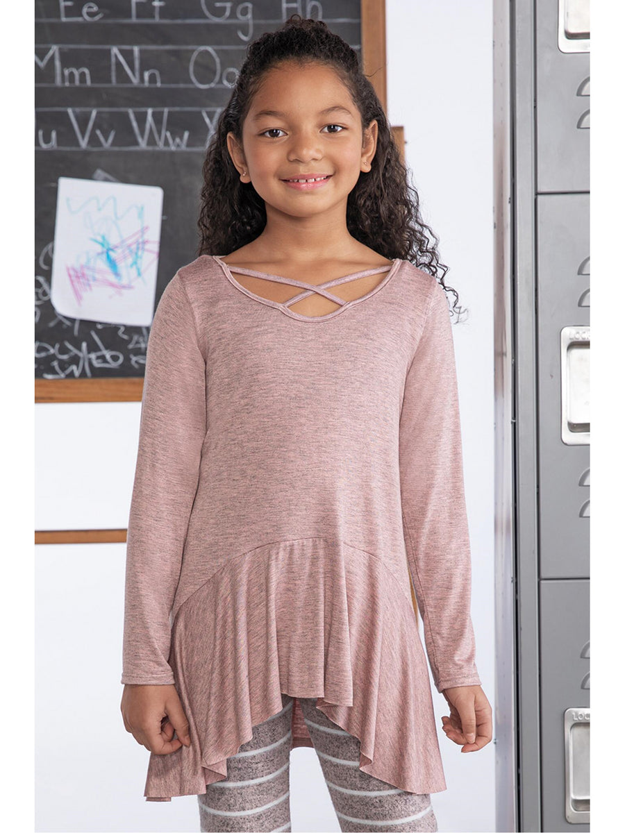 Girls Pink Criss-Cross High-Low Tunic