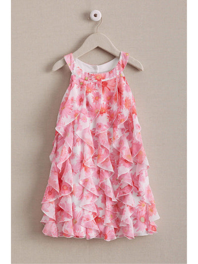 Girls Pink Daisy Ruffle Dress