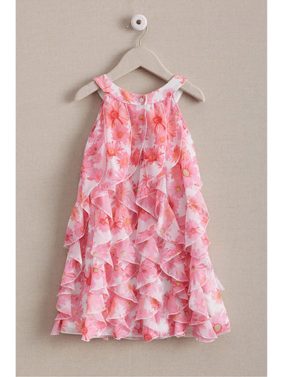 Girls Pink Daisy Ruffle Dress  mlt alt2