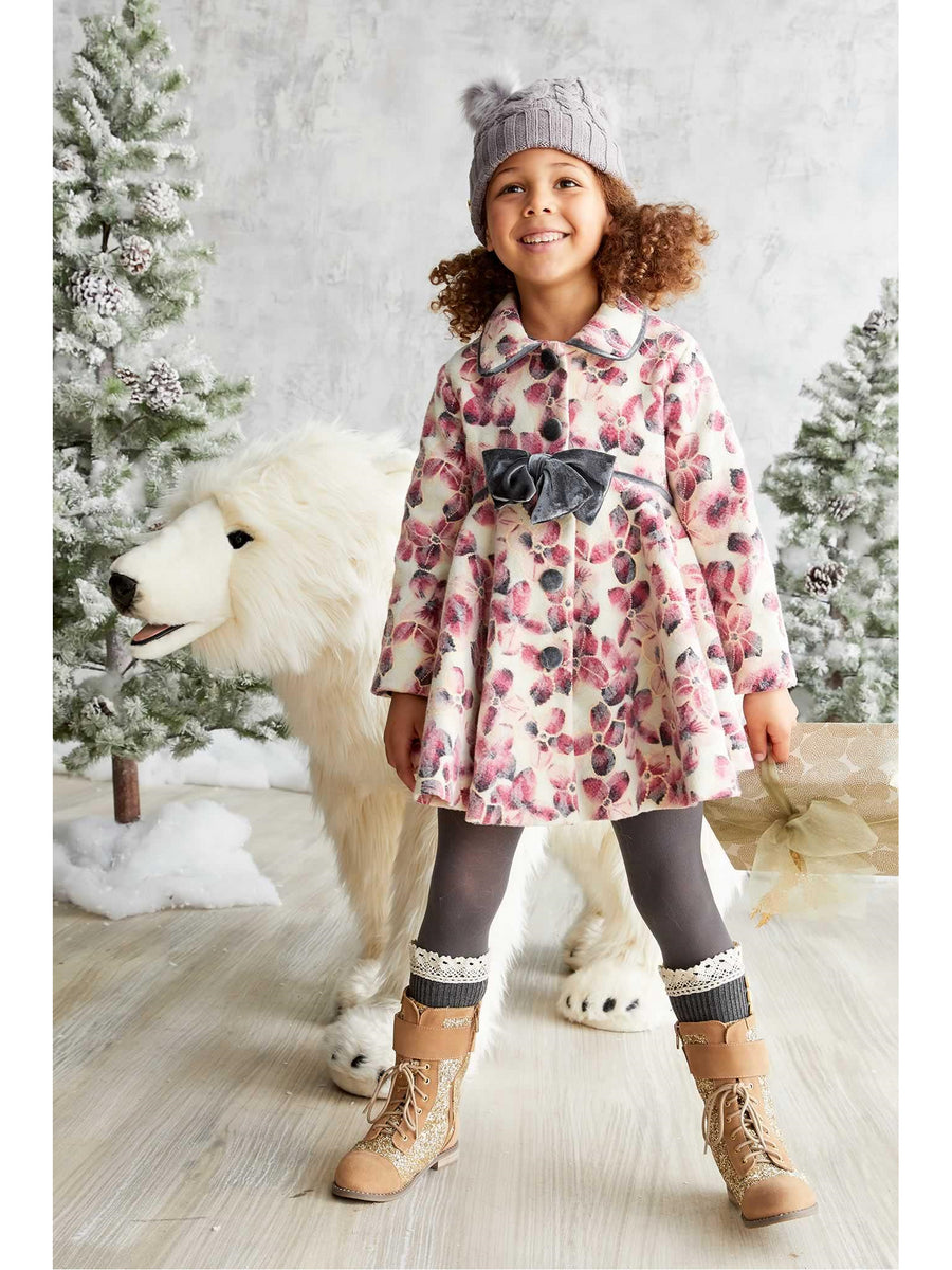 Girls Pink Floral Coat