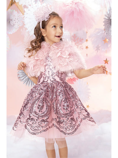 Girls Pink Frothy Feathers Capelet