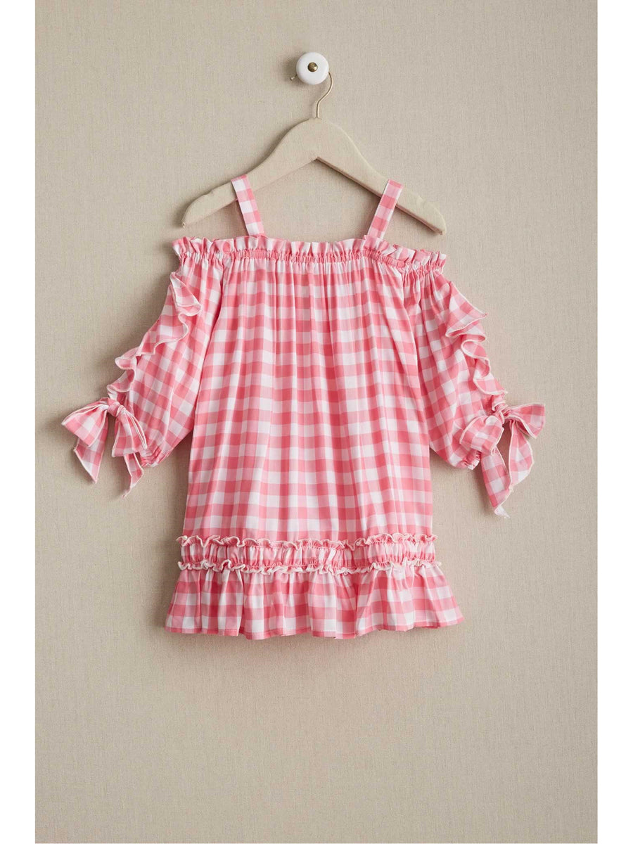 Girls Pink Gingham Ruffle Sundress