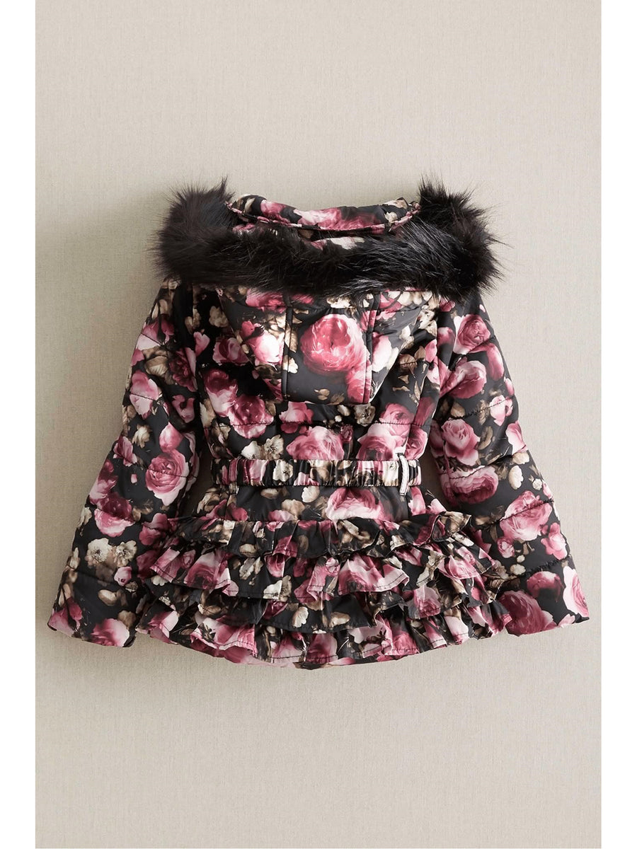 Girls Pink Roses Ruffle Coat