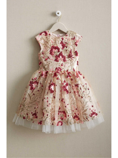 Girls Pink Sequin Floral Dress