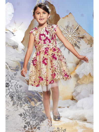 Girls Pink Sequin Floral Dress  ivo alt1