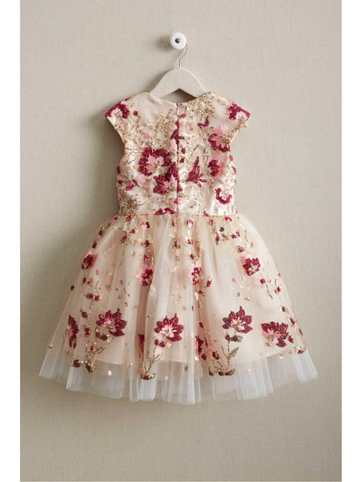 Girls Pink Sequin Floral Dress  ivo alt2
