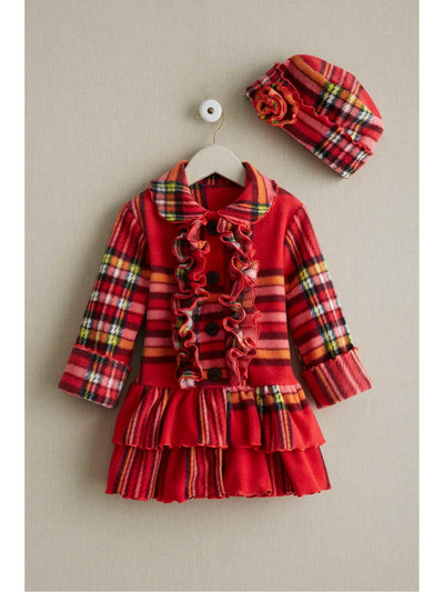 Girls Plaid Ruffle Coat & Hat Set