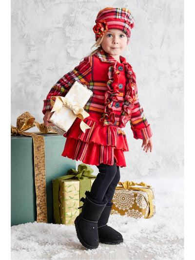 Girls Plaid Ruffle Coat & Hat Set  red alt1