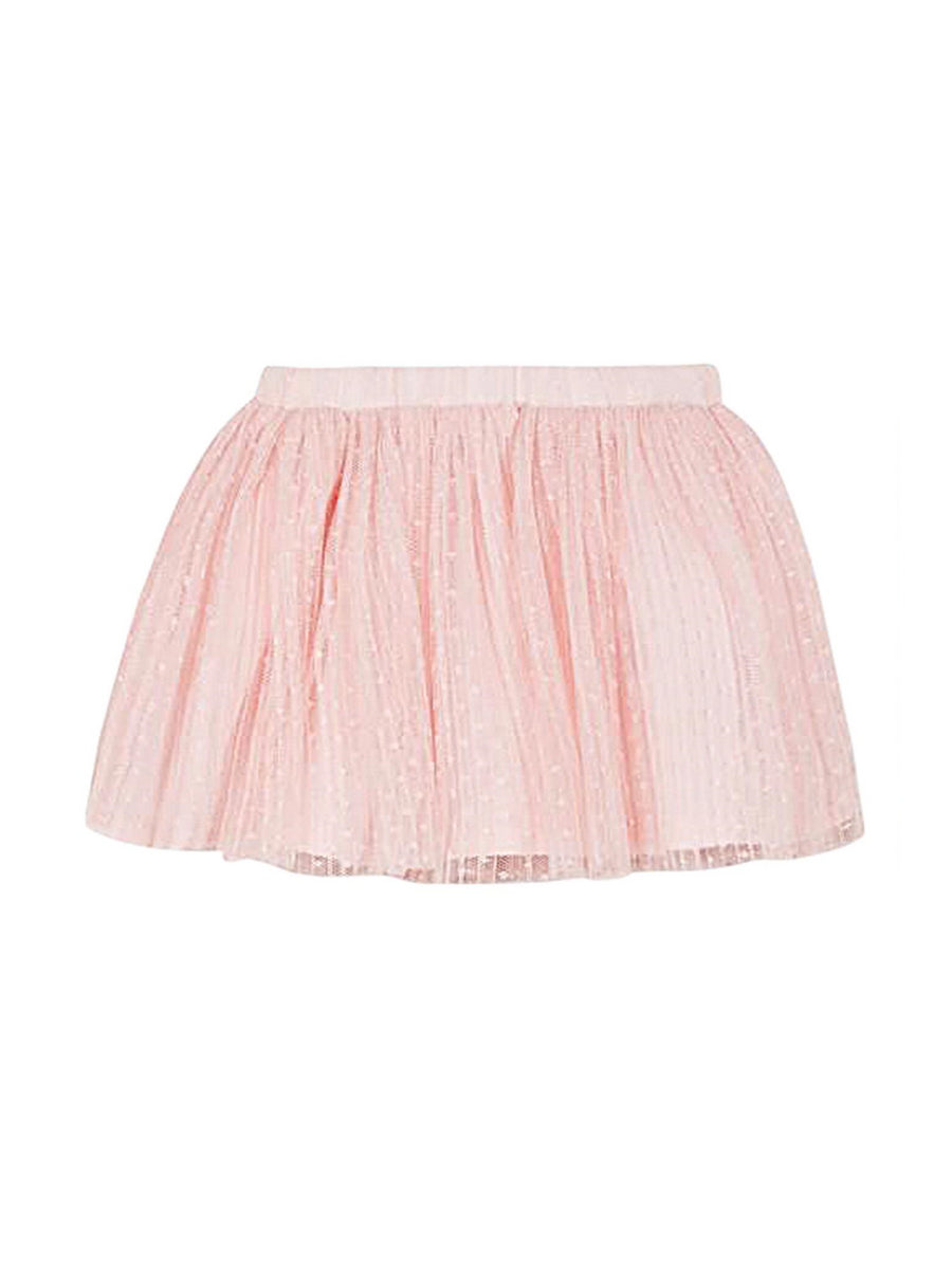 Girls Pleated Pink Tulle Skirt