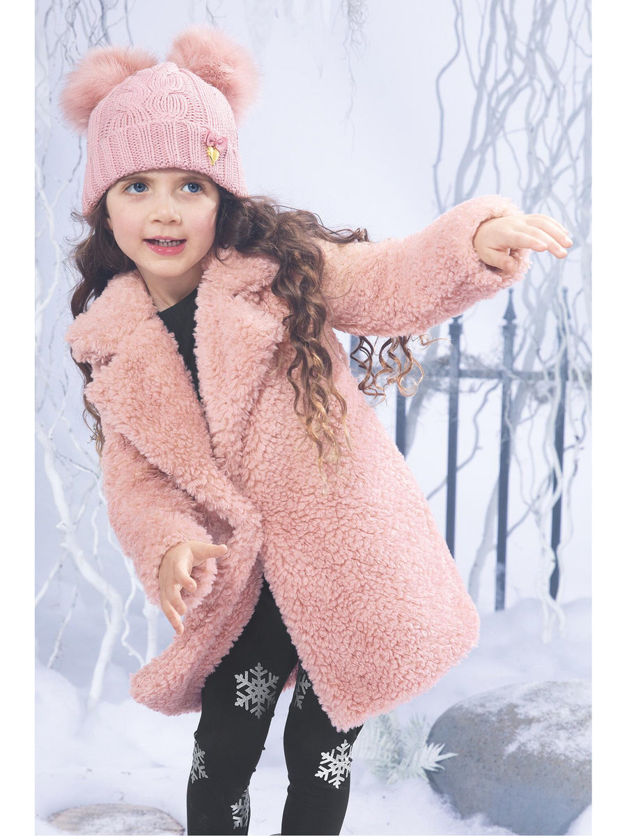 Girls Plush Pink Thermal Coat