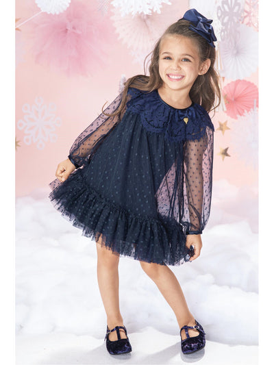 Girls Polka Dots & Lace Dress