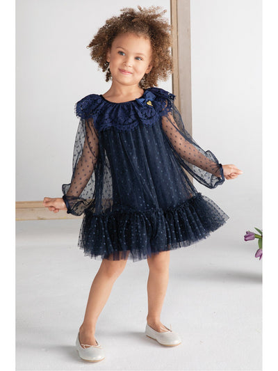 Girls Polka Dots & Lace Dress  nvy alt1