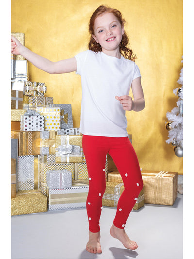 Girls Pom Pom Leggings  red alt2