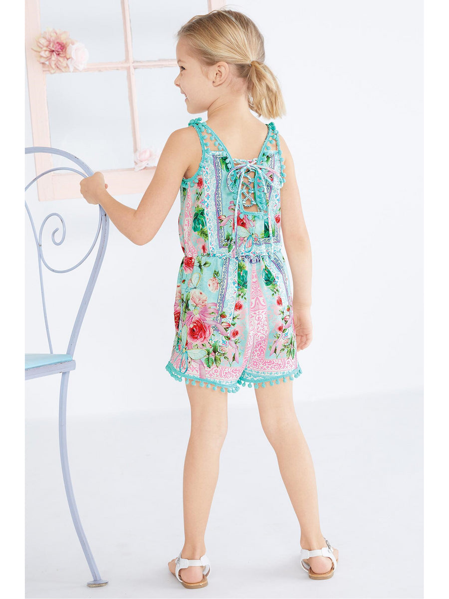 Girls Pom-Pom Trim Floral Romper