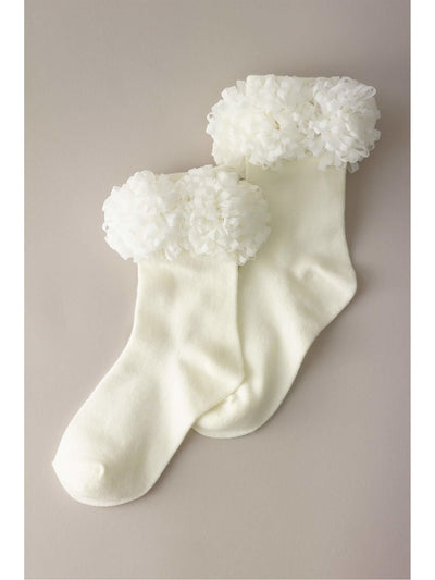 Girls Pompom Socks  whi 1