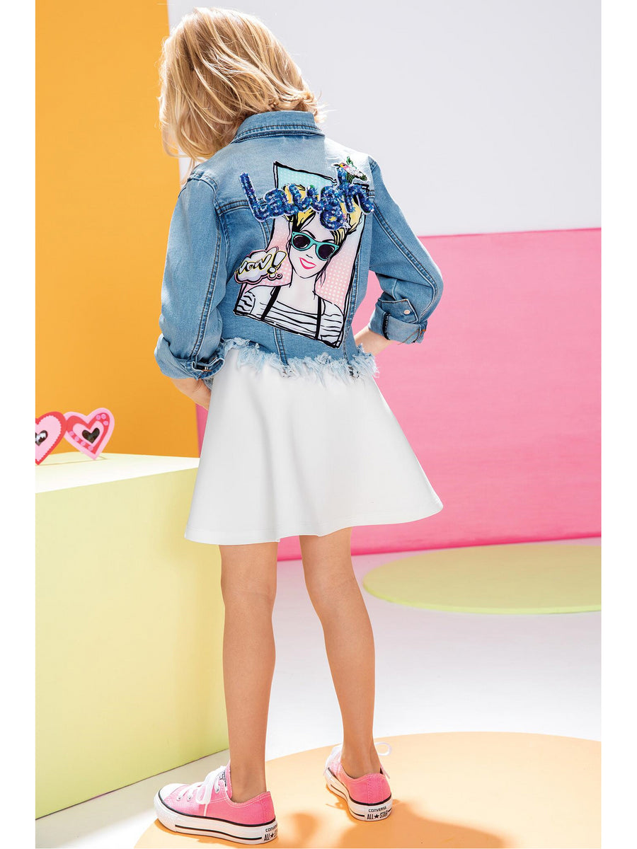 Girls Pop Art Embellished Denim Jacket