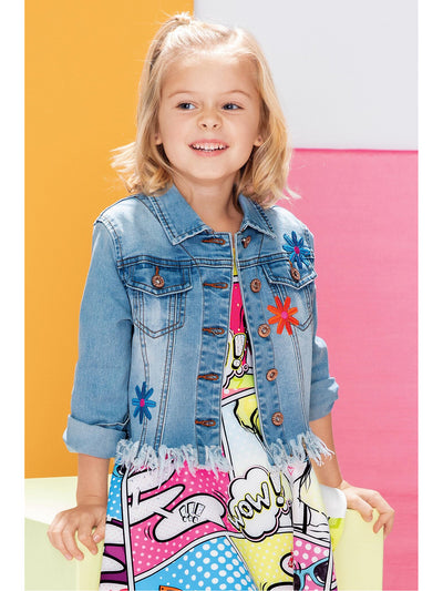 Girls Pop Art Embellished Denim Jacket  dnm alt1