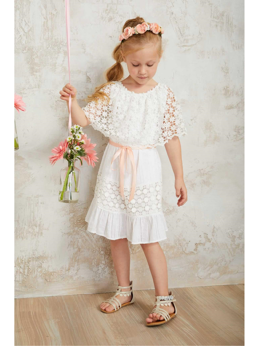 Girls Prairie Lace Capelet Dress