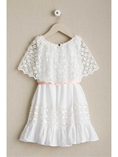 Girls Prairie Lace Capelet Dress  whi alt2