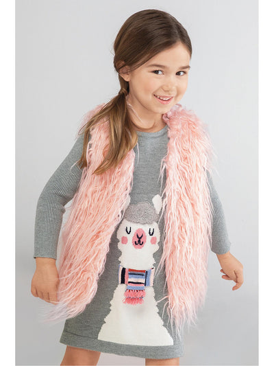 Girls Pretty in Pink Faux Fur Vest  pwdpk alt1