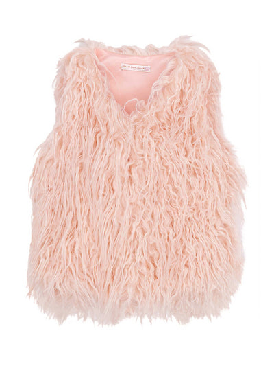 Girls Pretty in Pink Faux Fur Vest  pwdpk alt2