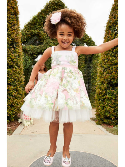 Girls Pretty in Pink Floral Dress  lpi alt1