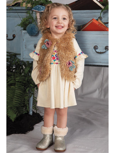 Girls Pretty Posies Faux Fur Vest