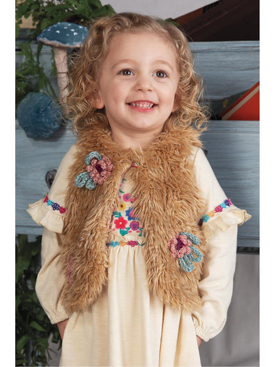 Girls Pretty Posies Faux Fur Vest  tanm alt1