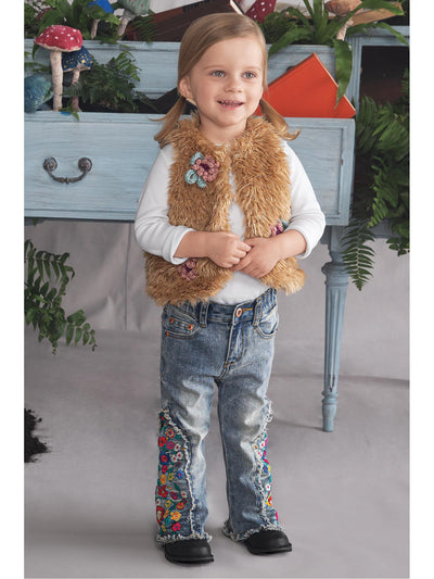 Girls Pretty Posies Faux Fur Vest  tanm alt2