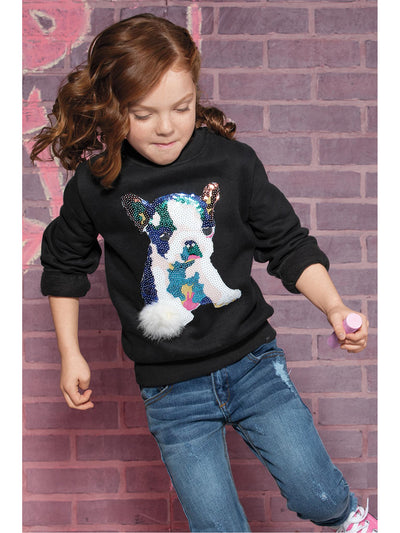 Girls Pretty Pup Sequin Pullover  blk alt1