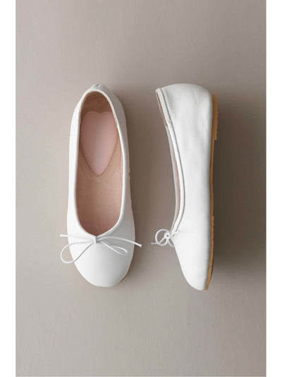 Girls Prima Leather Ballet Flats  whi 1