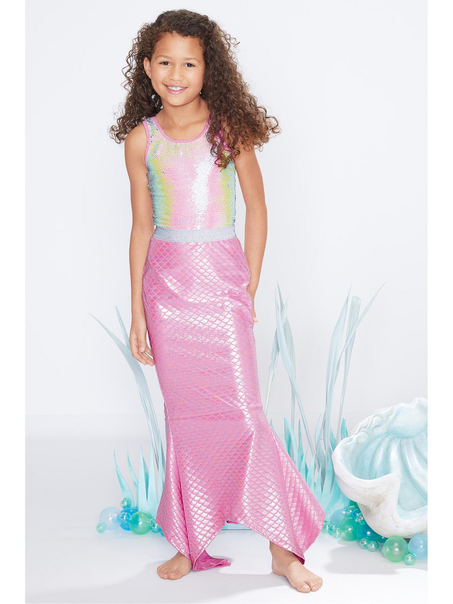 Girls Printed Mermaid Tail Swim Cover-Up