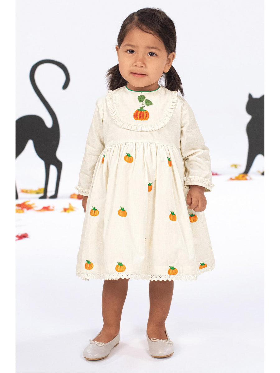 Girls Pumpkin Patch Embroidered Dress