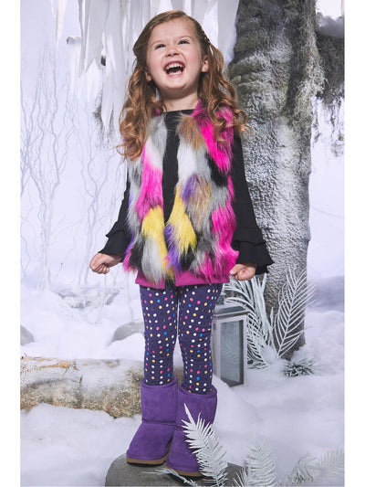 Girls Purple & Polka Dots Leggings  pur alt2