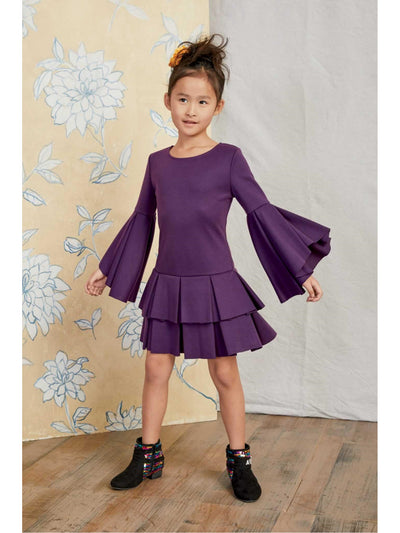 Girls Purple Ponte Dress  pur alt1