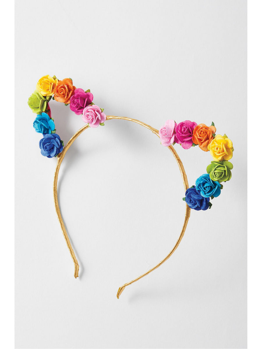 Girls Rainbow Floral Cat Ears Headband