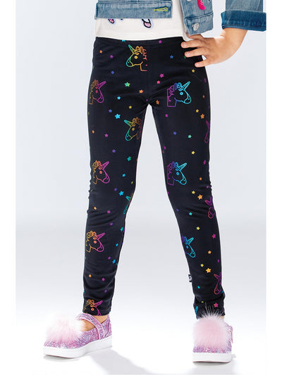 Girls Rainbow Foil Unicorn Leggings